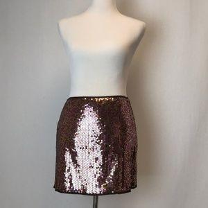 Express | brown gold mauve sequin mini skirt 5/6